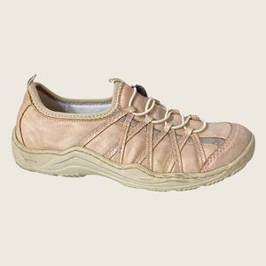 Rieker Pale Pink Leather Slip On Sneakers with Bungee Laces